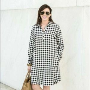 J.Jill Black White Gingham Shirt Dress Large P